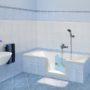 Sostituito il vecchio bagno ed installata vasca con sportello